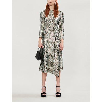 Paisley-print metallic woven midi dress