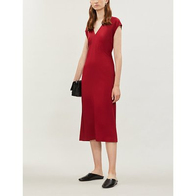 Sienna V-neck satin midi dress