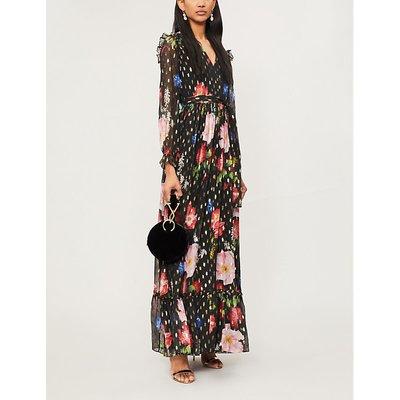 Berry Sundae metallic-flecked floral-print chiffon maxi dress
