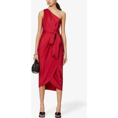Gabie one-shoulder satin-crepe midi dress