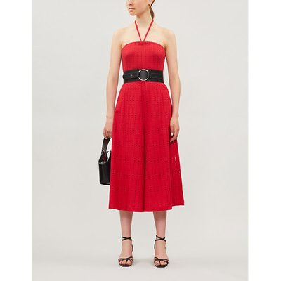 Belted wide-leg guipure-lace cotton jumpsuit