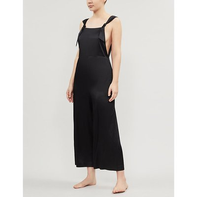 Jaimi low-back cropped stretch-silk jumpsuit