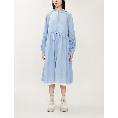 Asymmetric woven hooded midi dress