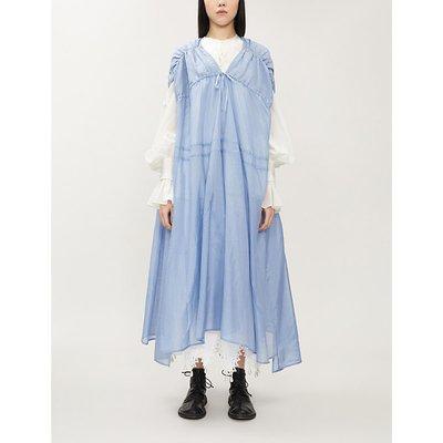 Asymmetric silk and linen-blend midi dress