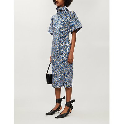Majella floral-print high-neck cotton midi dress