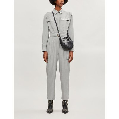 Belted woven-flannel jumpsuit