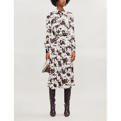 Tara cow-print crepe midi dress