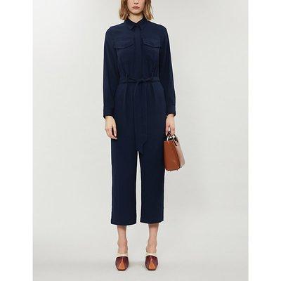 Blanca belted wide-leg cotton-blend jumpsuit