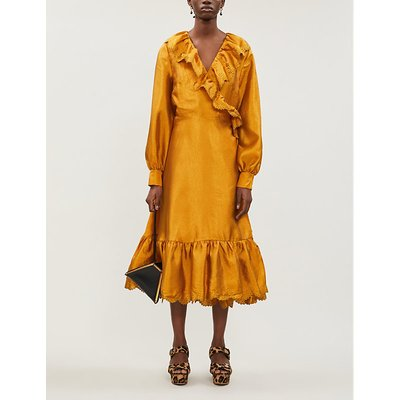 Steffi puffed-sleeve crepe midi dress