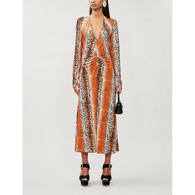 Snakeskin-print stretch-jersey midi dress