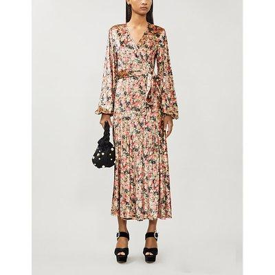 Beatrix floral-print velvet midi wrap dress