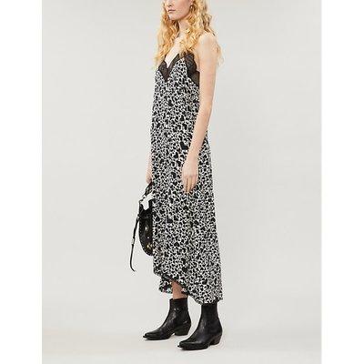 Risty heart-print silk-crepe dress