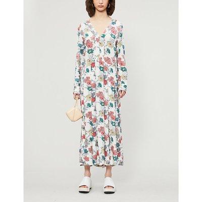 Roux floral-print crepe midi dress