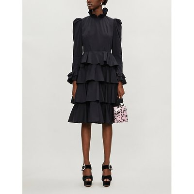 Confection ruffled-trim cotton midi dress