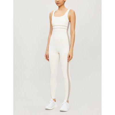Katie square-neck stretch-woven jumpsuit