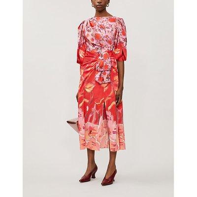 Panelled printed silk midi dress