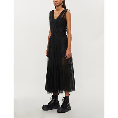 Ottimare faux-leather and tulle midi dress