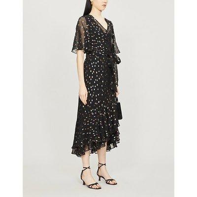 Berdina metallic polka-dot crepe midi dress