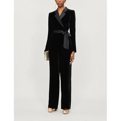 Monica wrap-over velvet jumpsuit