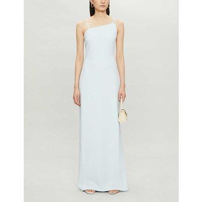 Strap-detail stretch-crepe maxi dress