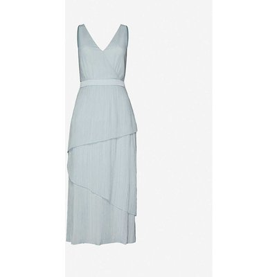 Ionaa tiered metallic crepe midi dress