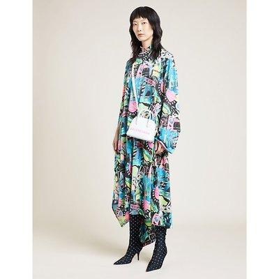 Printed high-neck cotton-jersey midi dress