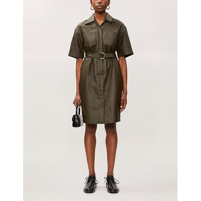 Buckle-belt leather midi dress