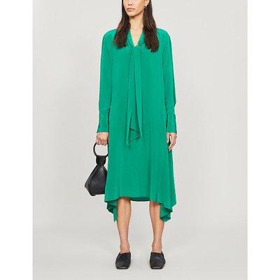Alisson asymmetric silk-crepe midi dress