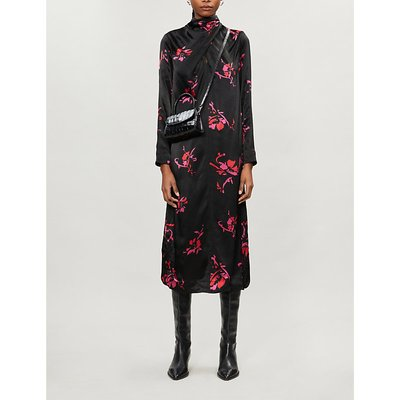 Floral-print high-neck crepe midi dress