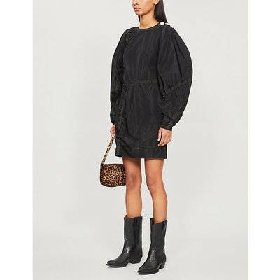 Puffed-sleeve recycled-polyester shell shift dress
