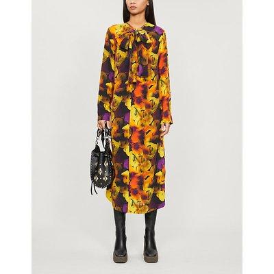 Tied-neck floral-print crepe midi dress