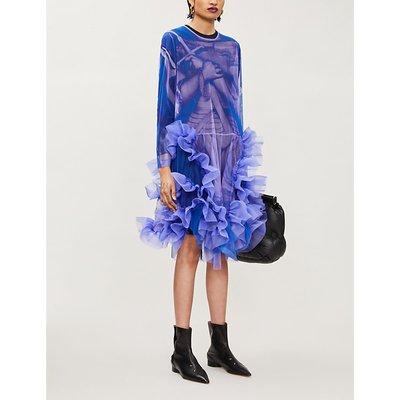 Graphic-print silk-tulle midi dress