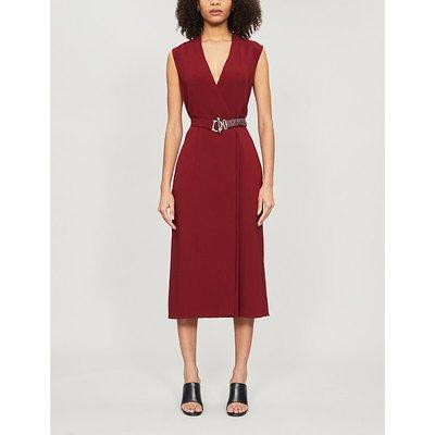 Belted crepe midi wrap dress