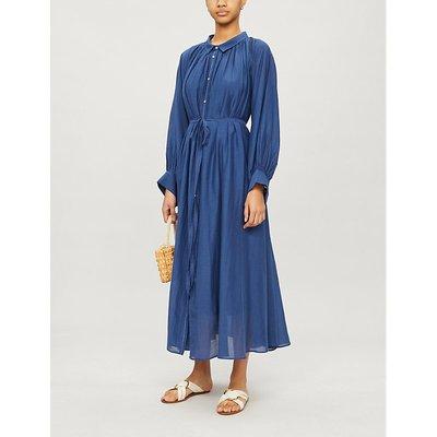 Cleo gathered cotton-blend midi dress