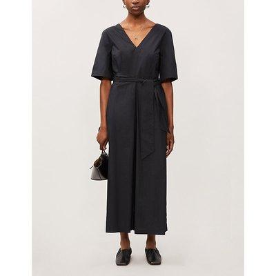 Serra wide-leg cotton-poplin jumpsuit