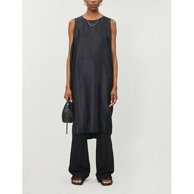 Sleeveless silk midi shift dress