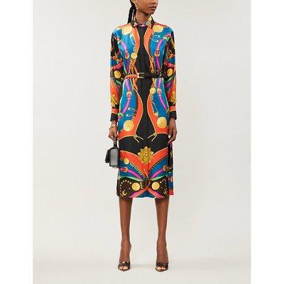 Graphic-print silk-twill shirt dress