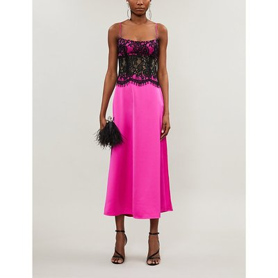 Lace-overlay crepe midi dress