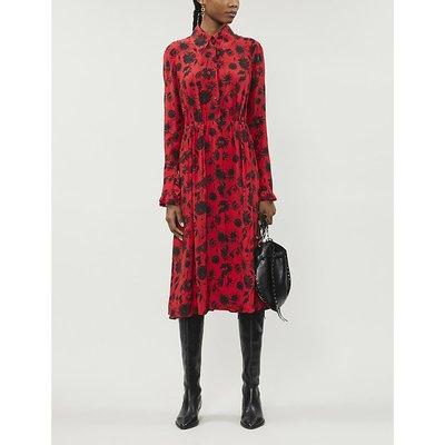 Floral-print open-back silk midi dress