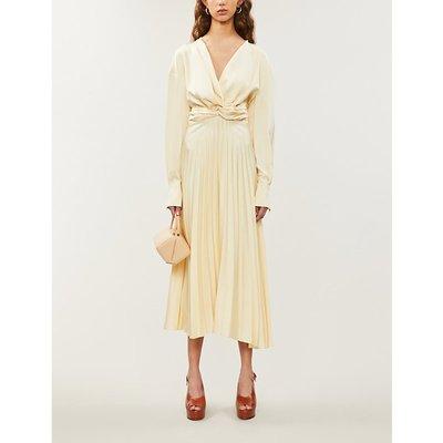 Milano pleated silk-satin midi dress
