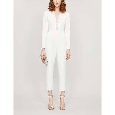 Corseted crepe jumpsuit