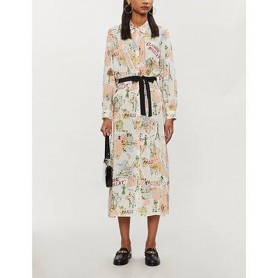 Paris-print silk-crepe midi dress