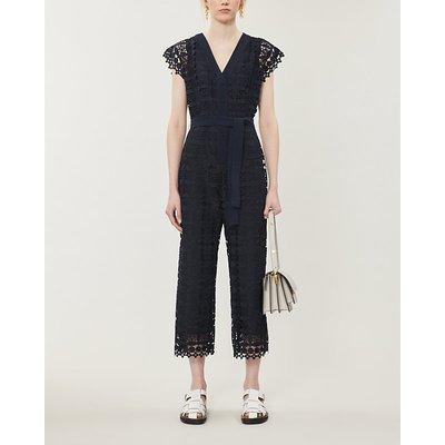 Jajae copped wide-leg floral-lace jumpsuit