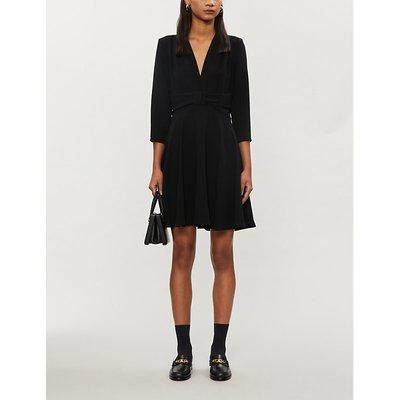 Flared A-line crepe midi dress
