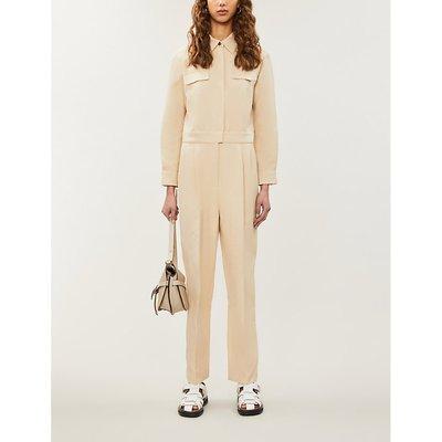 Uno belted cotton-linen-blend jumpsuit