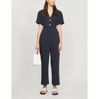 Button-detail stretch-twill jumpsuit