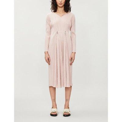 Pleated woven midi dress