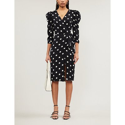 Jaylee polka-dot stretch midi dress
