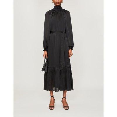 Tiered-skirt gathered-neckline silk midi dress