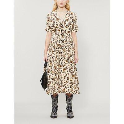 Graphic-print crepe midi dress